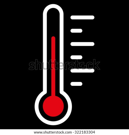 Temperature Level vector icon. Style is bicolor flat symbol, red and white colors, rounded angles, black background.