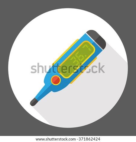 temperature thermometer flat icon - stock vector
