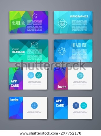 Template. Abstract Geometric Vector Template Layout Design for Flyer, Placard, Brochure or Booklet. Mobile, Technology and Infographic Concept. UI template. Web UI app design. Vector business card set
