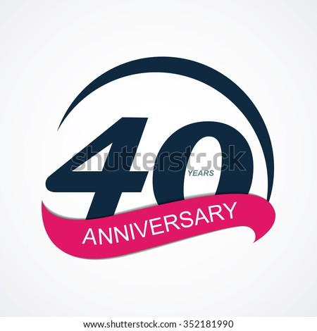 Template 40 Anniversary Vector Illustration EPS10 - stock vector