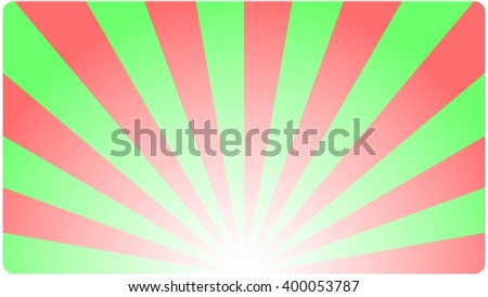 Template Background business card  with an abstract geometric design green red rays. Vector illustration.