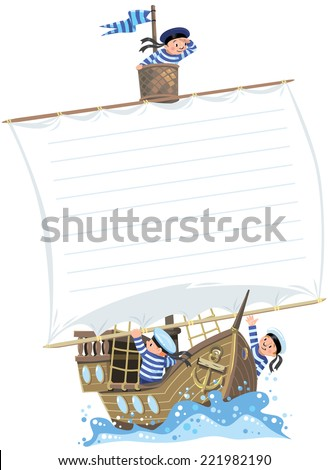 Template background with banner in the shape of a sail of a wooden sailboat with a team of Jolly boys-sailors in vests and sailor hats - stock vector