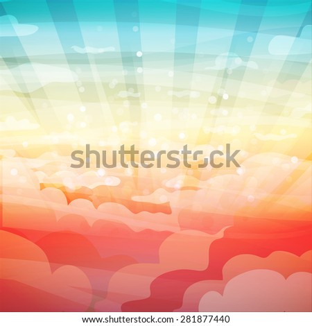 Template banner design, posters. Landscape with clouds, sun, sunset or sunrise. Vector. Place for your text. - stock vector