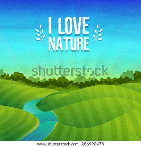 Template banner design, posters with logo about nature. Landscape with fields, meadows, river, sunrise and forest. Vector. Place for your text. - stock vector