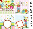 Template birthday greeting card, vector illustration - stock vector