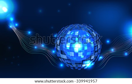 template, blue universe glowing blue globe abstract vector background