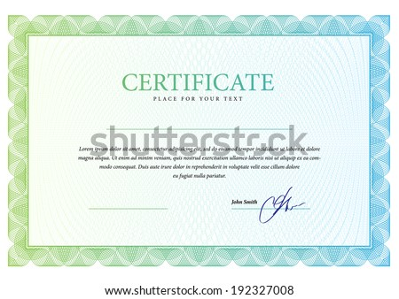 Template border diplomas, certificate and currency. Vector illustration  - stock vector
