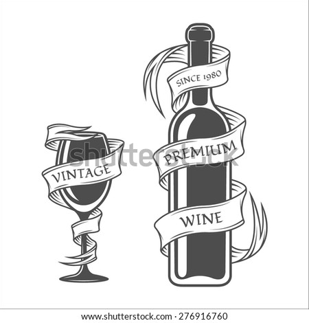 Template bottles and glasses with tape in vintage style. - stock vector