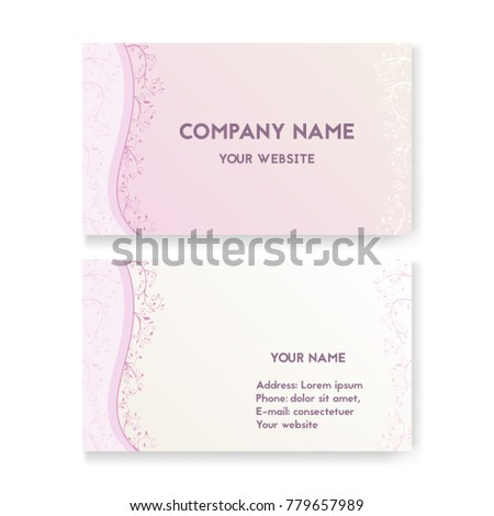 Template business card wedding salon layout stock vector 779657989 template business card for wedding salon layout for print vector illustration pink and reheart Images