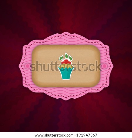 Template Cake Label on Abstract Vector Background. EPS10.