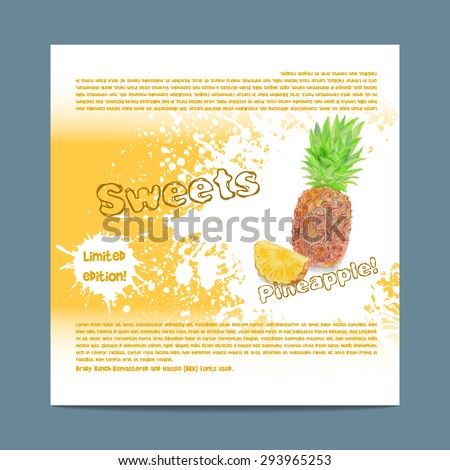 Template candy packaging. Pineapple sweets. Stencil for print of pack sugar lozenge.