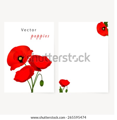 Template card for greeting, invitation, wedding, birthday, Easter with red flowers poppies - stock vector