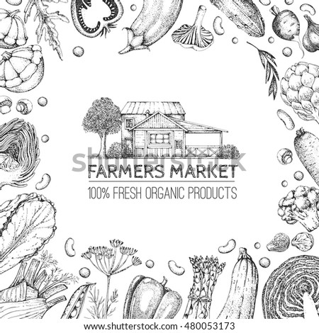 Template card. Vintage logo with farm house. Hand drawn vegetables in style engraving. Food vector background. Farmers market. Natural vegetarian eco product.