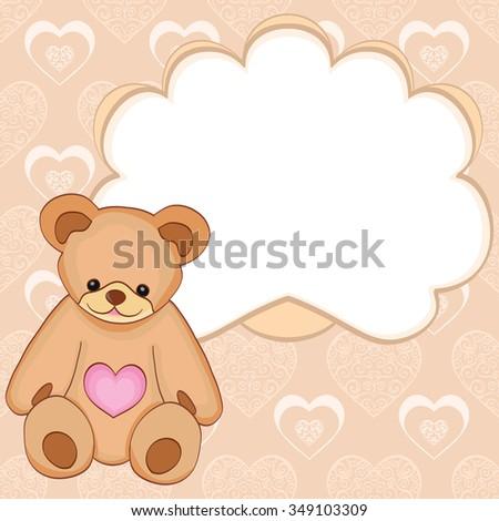 Template card teddy bear hearts valentines stock vector 349103309 template card with teddy bear and hearts valentines day maxwellsz