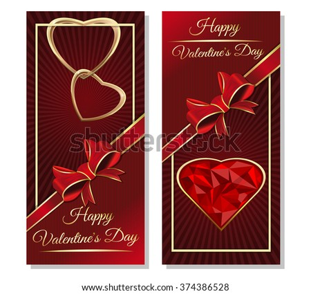 Template cards with hearts, ribbon, bow and greeting inscription. Greeting inscription - Happy Valentine's Day. Couple of golden hearts. Dark red vector valentines background. - stock vector