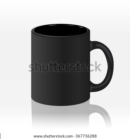 Template ceramic clean black mug with a matte effect, without the bright glare, isolated on a white background. Empty blank for coffee or tea. - stock vector