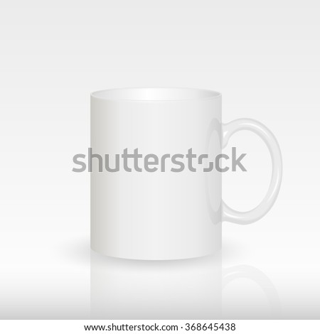 Template ceramic clean white mug with a matte effect, without the bright glare, isolated on a white background. Empty blank for coffee or tea. photorealistic white cup - stock vector