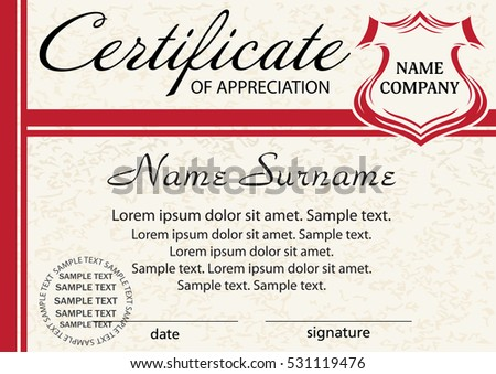 Template Certificate Appreciation Elegant Red Design Stock Vector Hd