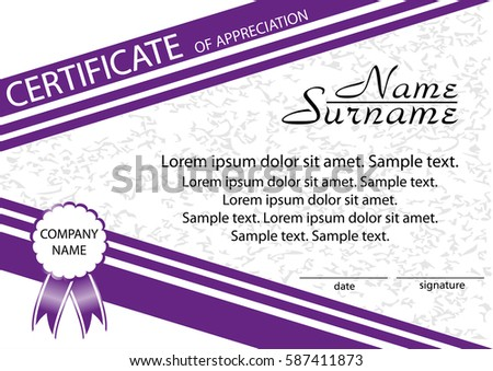 Template certificate appreciation winning competition reward stock template certificate of appreciation winning the competition reward vector illustration yelopaper Image collections