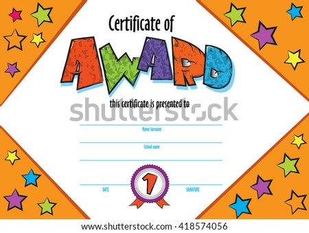 Template child certificate be awarded kindergarten stock vector template child certificate to be awarded kindergarten preschool kids diploma design template vector for yelopaper Images