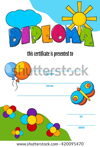Template child certificate be awarded kindergarten stock vector template child certificate to be awarded kindergarten preschool kids diploma design template vector for yadclub Gallery
