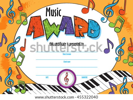 Template Child Music Certificate Be Awarded Stock Photo Photo
