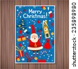 Template Christmas card in a cartoon style. Santa Claus and Christmas items such as - the Christmas tree, gifts, bells, mistletoe. Merry Christmas! - stock photo