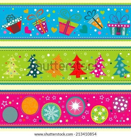 Template Christmas greeting card, ribbon, vector illustration - stock vector