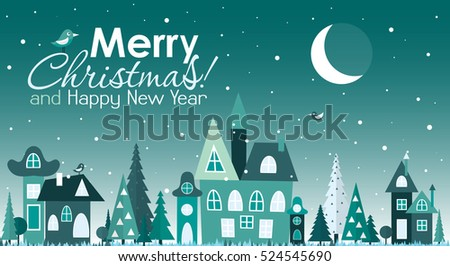 Template Christmas greeting card with a Christmas tree and house, vector illustration