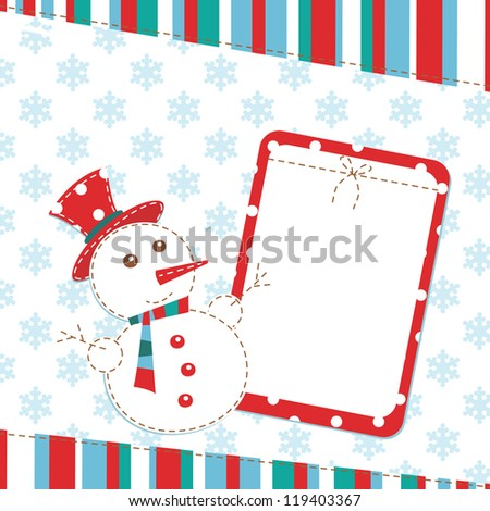 Template christmas greeting card with snowman