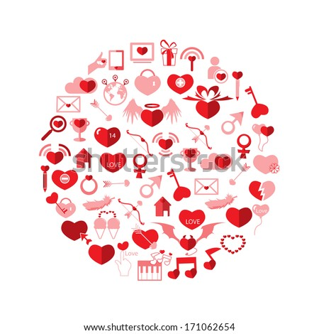Template Circle Valentine's day, Love icon