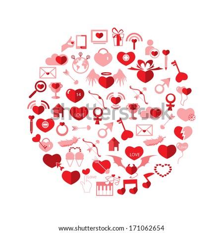 Template Circle Valentine's day, Love icon