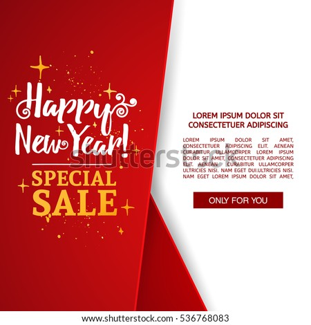 Happy New Year Brochure With Decoration Red Tape For Xmas Sale