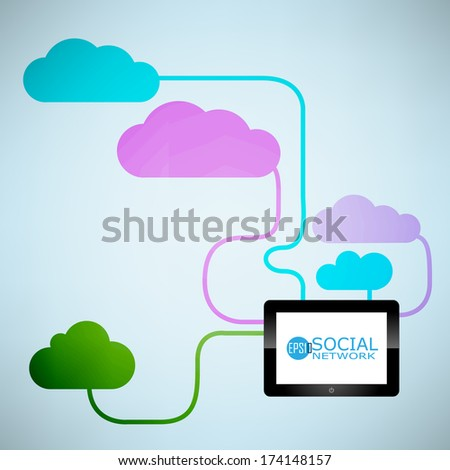 Template design Cloud and digital tablet use idea with social network icons background