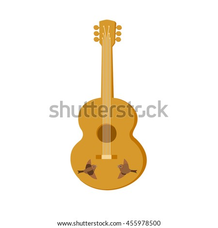 Template Design for poster with acoustic guitar isolated. Folk gypsy musical instrument style with clef, deck, tuners, strings. Idea for Live Music Festival, event  show, element. Vector illustration. - stock vector