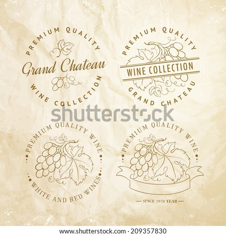 Template design for wine with grapes. Vector illustration. - stock vector