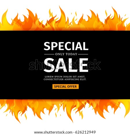 Template design horizontal banner special sale stock vector template design horizontal banner with special sale card for hot offer with frame fire graphic stopboris Images