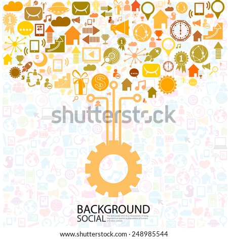 Template design, idea gear with social network icons background - stock vector