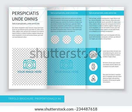 Template design of blue trifold brochure with polygonal grid. Editable and light vector with places for photos. Proportionally A4 - stock vector