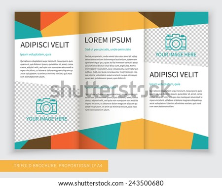 Template design of ethnic colorful trifold brochure with polygons. Editable and light vector with places for photos. Proportionally A4 - stock vector