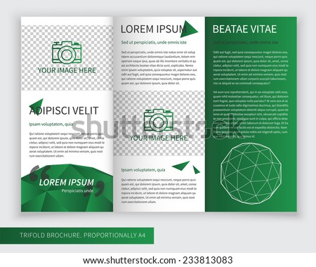 Template Design Green Trifold Brochure Polygons Stock Vector