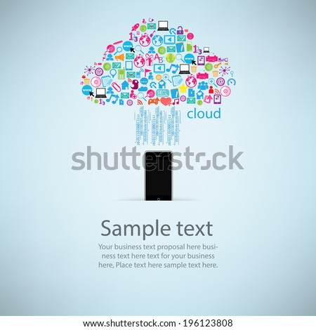 Template design Phone idea with clicking cloud icon. - stock vector