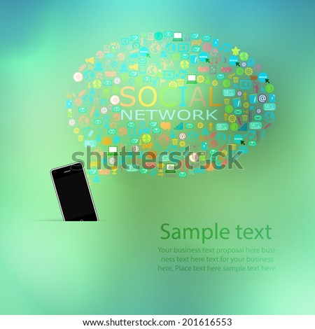 Template design Phone idea with social network icons abstract background