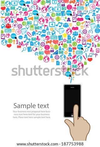 Template design Phone idea with social network icons background