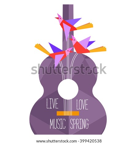 Template Design Poster background with acoustic guitar isolated, clef, notes. Idea for Live Music Festival banner, concert music show. Musical Festivals promotion,  advertisement. Vector illustration. - stock vector