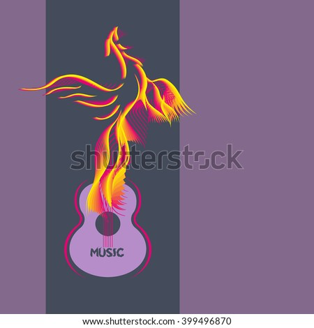 Template Design Poster with acoustic guitar, bird silhouette. Idea for background of Live Music Festival, music show, guitar concert. Musical Festival promotion,  advertisement. Vector illustration. - stock vector