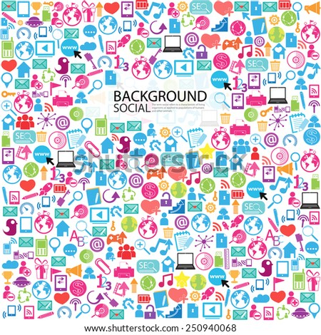 Template design thinking idea with social network icons background - stock vector