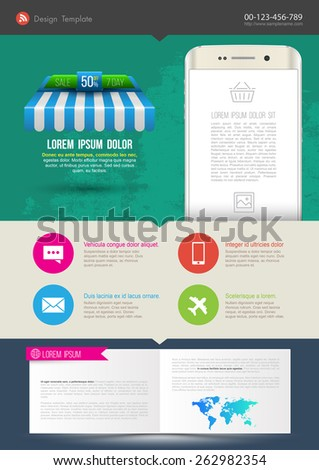 Template design with smartphone monitor. Vector illustration. Can use for poster printing and web design. - stock vector