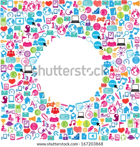 template design with social network icons background ,Circle