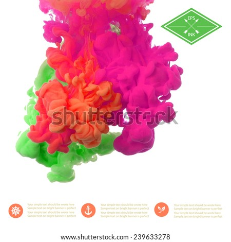 Template design with vector isolated cloud of  green, orange, pink ink on white. Splashes of paint. Texture of ink, paint in water - stock vector